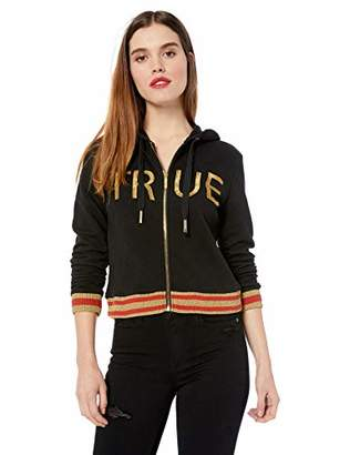True Religion Women's Crop Logo Zip Hoodie