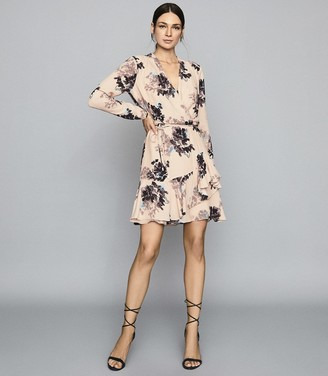 Reiss Anja - Floral Printed Mini Dress in Pink Print