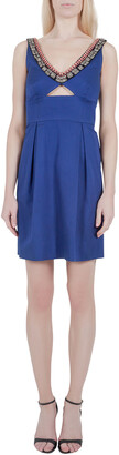 Lela Rose Cobalt Blue Embellished Cut Out Detail Plunge Neck Bodycon Dress XS