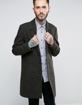 Asos Harris Tweed Overcoat In Khaki Melange