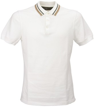 Brunello Cucinelli Slim Fit Cotton Pique Polo Shirt With Striped Knit Collar