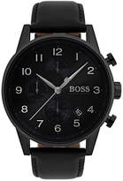 BOSS Men's Chronograph Navigator Black Leather Strap Watch 44mm 1513497