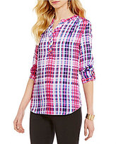 Investments Y-Neck Roll-Tab Sleeve Button Front Hi-Low Hem Plaid Blouse