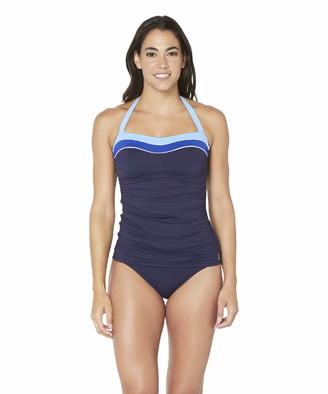 Nautica Women's Shirred Front Colorblock Halter Tankini