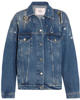 MSGM Oversized Embellished Denim Jacket - Mid denim
