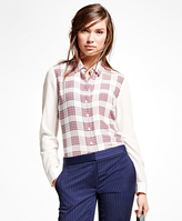 Brooks Brothers Silk Plaid Blouse