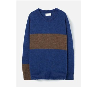 Universal Works Stripe Mohair Crew Blue - Medium