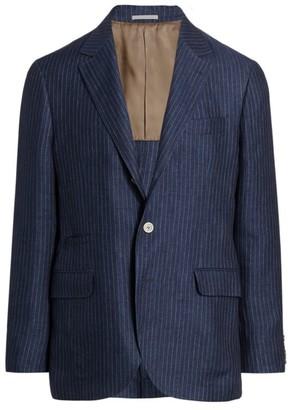 Brunello Cucinelli Striped Linen Suit Jacket