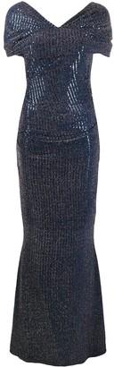 Talbot Runhof Ruched Sequin Dress