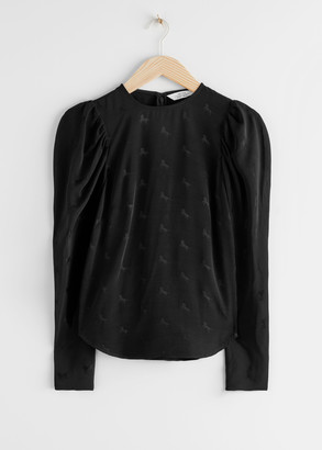 And other stories Jacquard Puff Sleeve Top