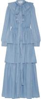 Sonia Rykiel Ruffled Tiered Chambray Maxi Dress - Light denim
