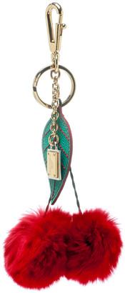Dolce & Gabbana Red Cherry Pom Pom Gold Tone Key Ring / Bag Charm