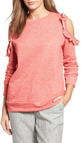 Caslon Ruffle Trim Cold Shoulder Sweatshirt (Regular & Petite)