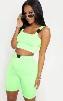 PrettyLittleThing Shape Neon Lime Buckle Detail Cycle Short