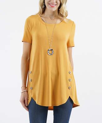 Ash Lydiane Women's Tee Shirts  Mustard Short-Sleeve Button-Accent Curved-Hem Tunic - Women