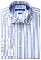 Vince Camuto Men's Slim Fit Stretch Dobby Stripe Dress Shirt with Collar, Ink/White