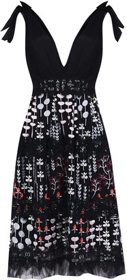 True Decadence Black Spring Meadow Embroidery Plunge Front Midi Dress