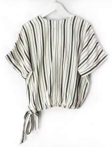 Designers Society - Striped Wrap Top - L - Black/White