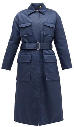 2 Moncler 1952 - Marigold Belted Quilted Cotton-blend Satin Coat - Navy