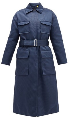 Moncler 2 1952 - Marigold Belted Quilted Cotton-blend Satin Coat - Womens - Navy