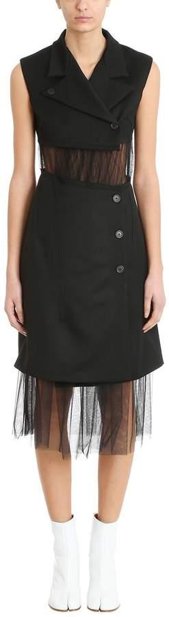 Maison Margiela Sleeveless Tulle Panel Blazer Dress Black Wool