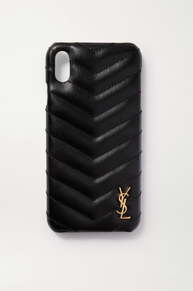 Saint Laurent Embellished Quilted Leather Iphone Xs Max Case - Black