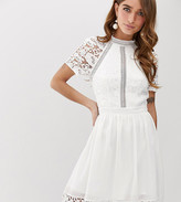 Chi Chi London Petite lace detail skater dress in white