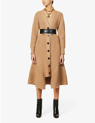 Alexander McQueen Buttoned flared-trim wool and cashmere-blend cardigan