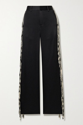 Monse Fringed Satin Wide-leg Pants - Black