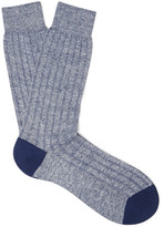 Pantherella Hamada Mélange Ribbed-Knit Socks