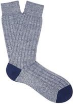 Pantherella Hamada Mélange Ribbed-Knit Socks