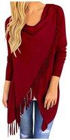 AuntTaylor Women's Loose High Low Open Front Tassel Hem Solid Cardigan 3XL