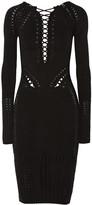 Cushnie et Ochs Lace-up stretch-knit cotton-blend dress