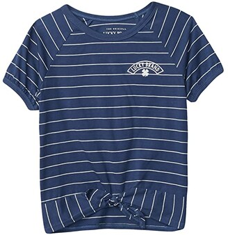 Lucky Brand Kids Stripe Tee (Big Kids) (True Navy) Girl's Clothing