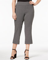 INC International Concepts Plus Size Cropped Jacquard Pants, Only at Macy's