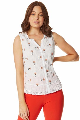 Roman Originals Women Lemon Print Embroidered Crinkle Blouse - Ladies Fruit 100% Cotton Cap Sleeve Casual Summer Spring Holiday Travel Work Office Lace Trim Low Neck Top - Ivory & Orange - Size 14