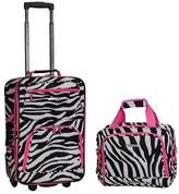 Rockland Fashion 2pc Luggage Set - Pink Zebra