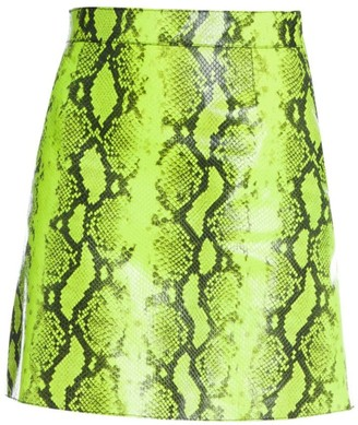 Off-White Python-Print Leather Skirt