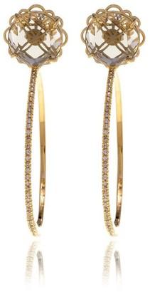 Georgina Jewelry Gold Signature Diamond Cut Hoops Crystal Earrings