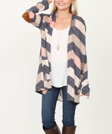 Egs By Eloges egs by eloges Women's Cardigans pink - Pink & Charcoal Chevron Elbow-Patch Open Cardigan - Women
