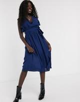 Glamorous skater dress with flutter sleeve in navy