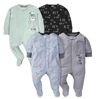 Gerber Baby Boy Zip Front Sleep 'n Play Pajamas with Mitten Cuffs, 4-Pack