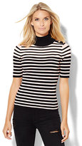 New York & Co. Button-Detail Ribbed Mock-Neck Sweater - Stripe