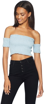 GUESS Women's Tencel Smocking Top Shirt