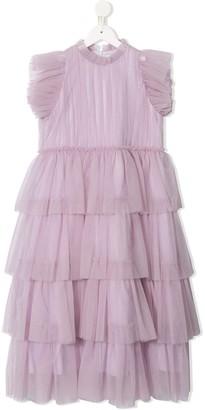 Il Gufo TEEN tiered tulle dress