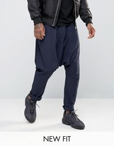 Asos Extreme Drop Crotch Joggers In Navy