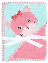 Baby Gear Kitty Cat Hooded Baby Bath Towel Wrap and Washcloth Set in Coral and Light Blue