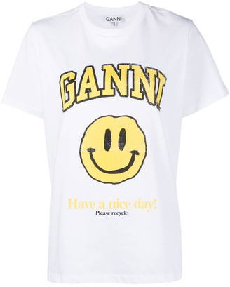 Ganni Smile Print Cotton T-shirt