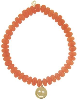 Sydney Evan Happy Face Charm On Orange Opal Beaded Bracelet - Yellow Gold