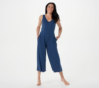 AnyBody Cozy Knit Tall Wide-Leg Jumpsuit with Back Tie Detail